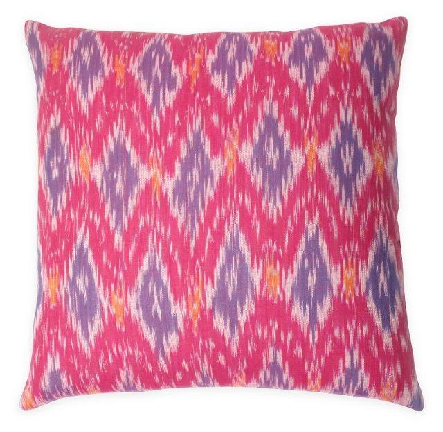 Ikat 20x20 Silk Pillow, Pink