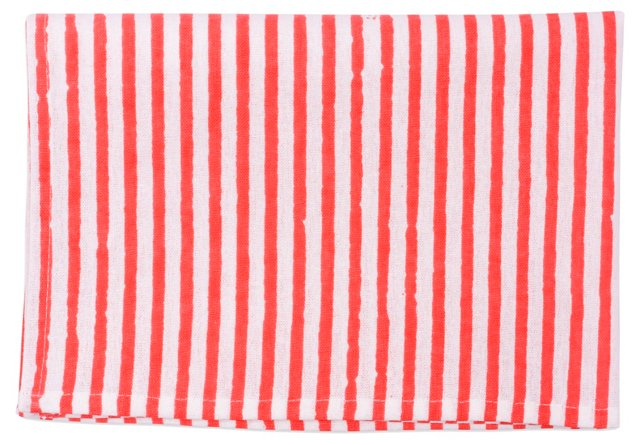 S/4 Striped Place Mats, Coral