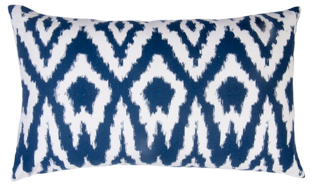 Overscale Ikat 14x24 Cotton Pillow, Navy
