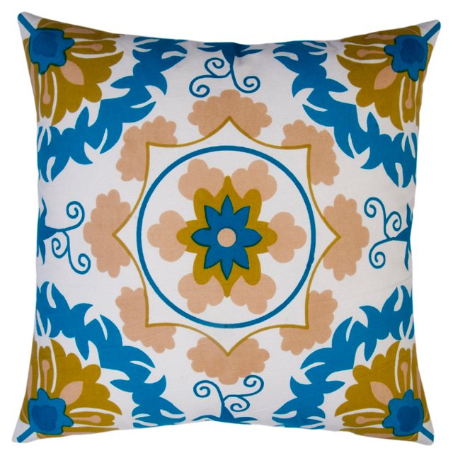 Suzani 20x20 Cotton Pillow, Blue
