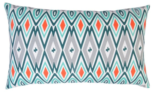 Diamond 14x24 Cotton Pillow, Multi