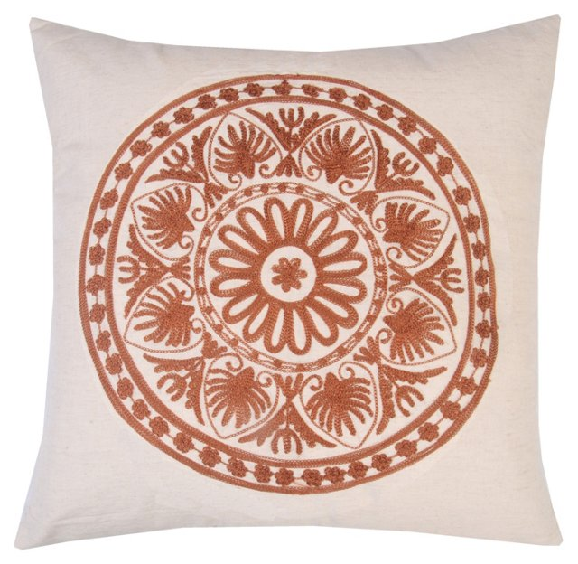 Motif 20x20 Embroidered Pillow, Brown