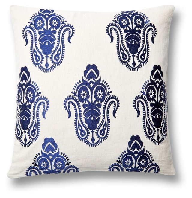 Zaira 20x20 Embroidered Pillow, Navy