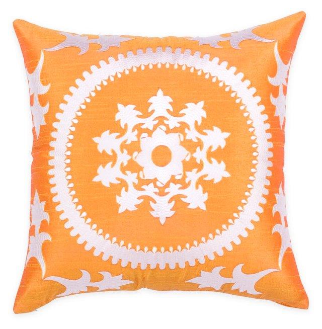 Aglaia 20x20 Embroidered Pillow, Orange