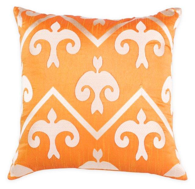 Kaci 20x20 Embroidered Pillow, Orange