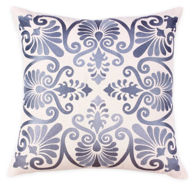 Lana 20x20 Embroidered Pillow, Gray