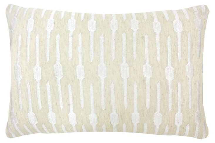 Geo 14x24 Embroidered Pillow, White