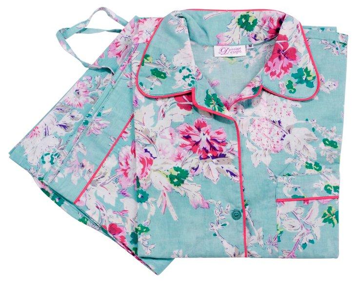 Small Adele Florals Pajama Set, Mint/Pin