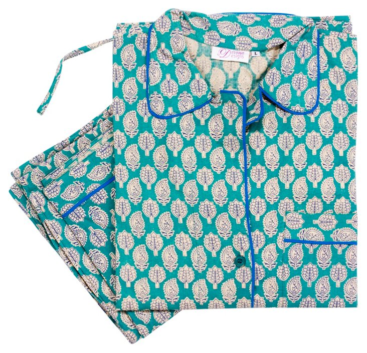 Small Colette Pajama Set, Teal