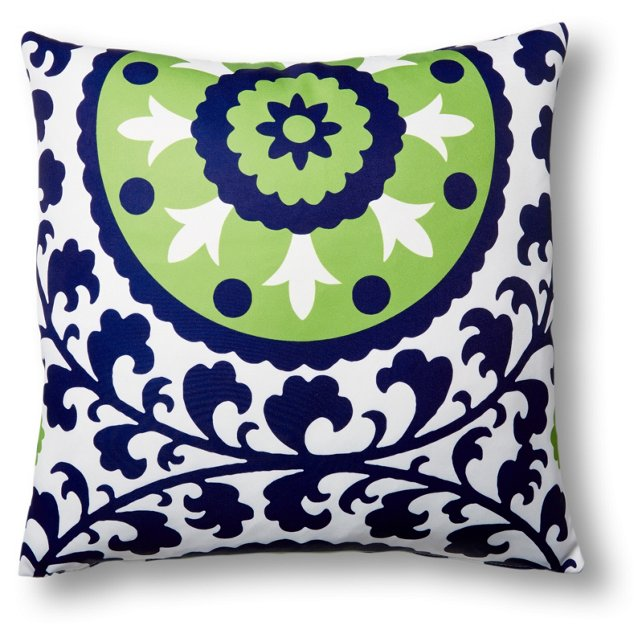 Ameena 20x20 Outdoor Pillow, Navy/Lime