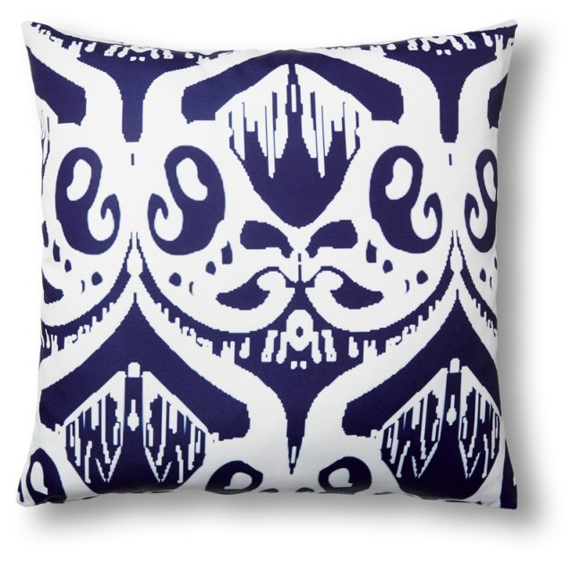 Damask 20x20 Outdoor Pillow, Blue