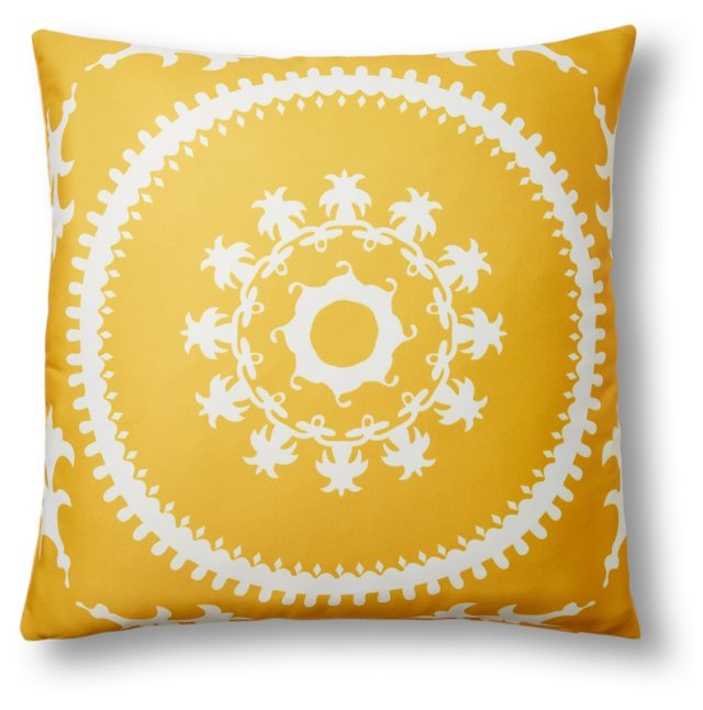 Medallion 20x20 Outdoor Pillow, Yellow
