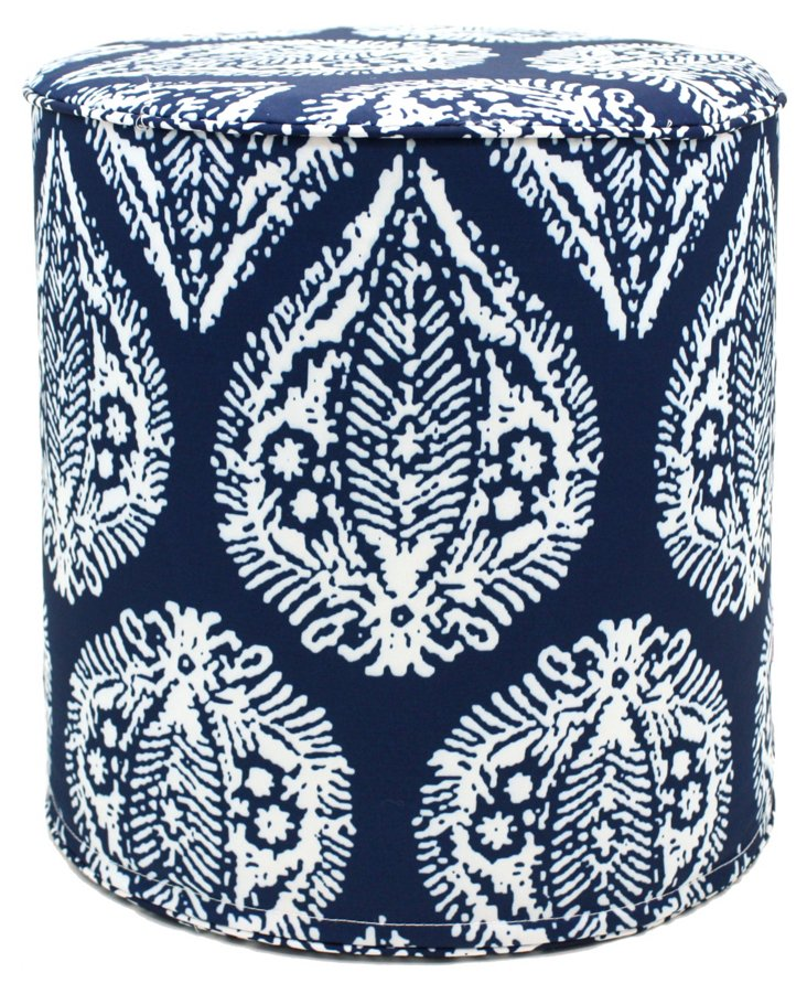 Damask Outdoor Pouf, Navy
