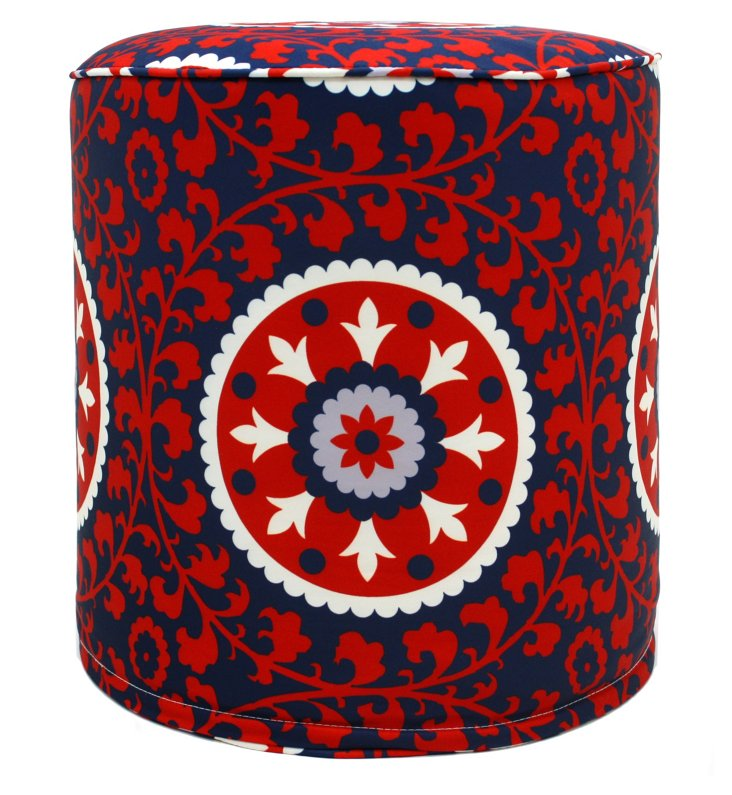 Suzani Outdoor Pouf, Red