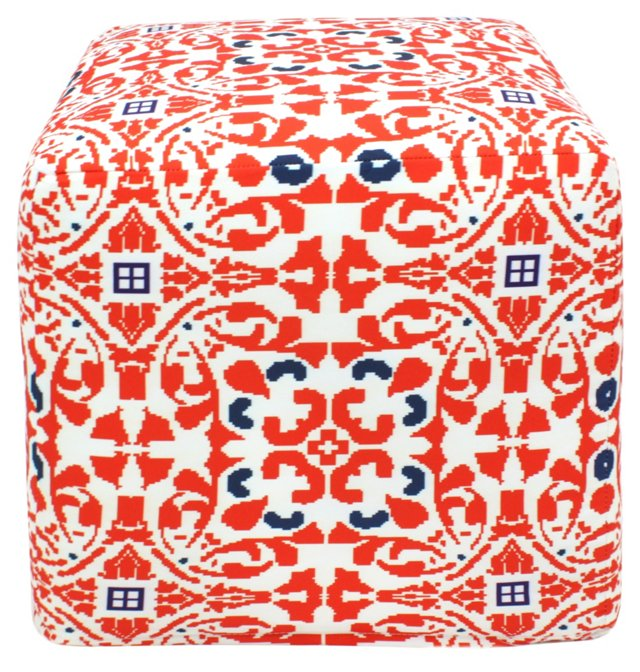 Damask Medallion Outdoor Pouf, Red