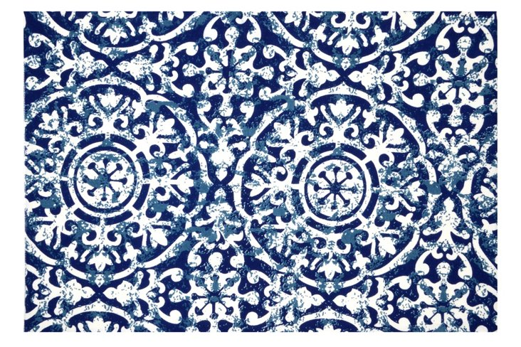 S/4 Medallion Place Mats, Blue