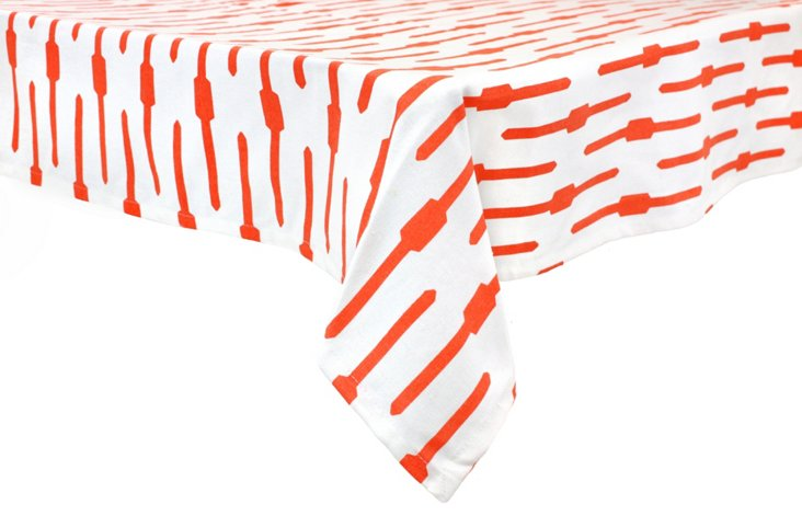 Geo Tablecloth, Coral