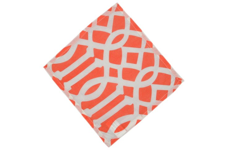 S/4 Trellis Cocktail Napkins, Coral