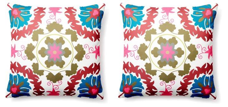S/2 Delphi 20x20 Outdoor Pillows, Multi