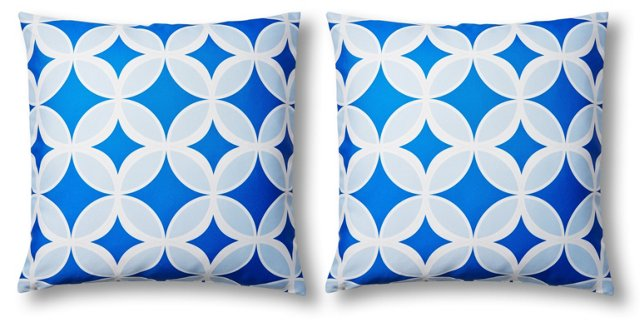 S/2 Quatre 20x20 Outdoor Pillows, Blue