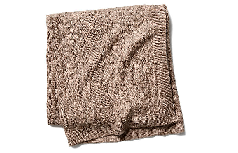 Howard Cable Throw, Fawn