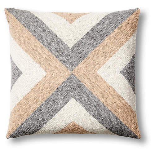 Grinda 18x18 Pillow, Camel/Gray