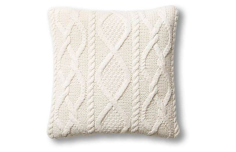 Chalet 24x24 Cable-Knit Pillow, Natural
