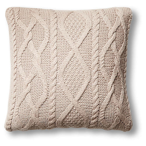 Chalet 24x24 Cable-Knit Pillow, Light Camel