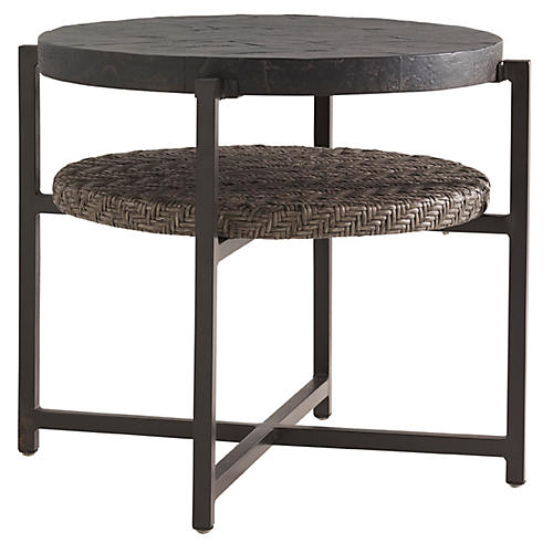 Olive Round Side Table, Walnut