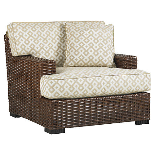 Pacifica Lounge Chair, Ivory/Espresso