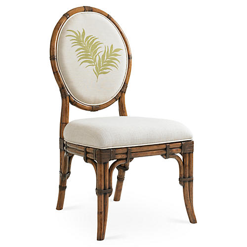 Gulfstream Oval Back Chair, Ivory/Green