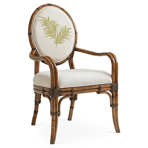 Gulfstream Oval Armchair, Ivory/Green