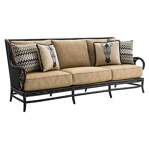 Marimba Outdoor Sofa, Gold Sunbrella