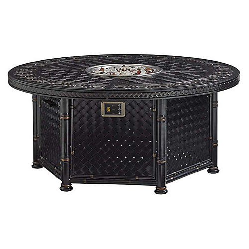 Marimba Outdoor Fire Pit, Gold/Black