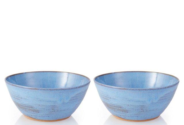 Blue Pasta Bowls, Pair