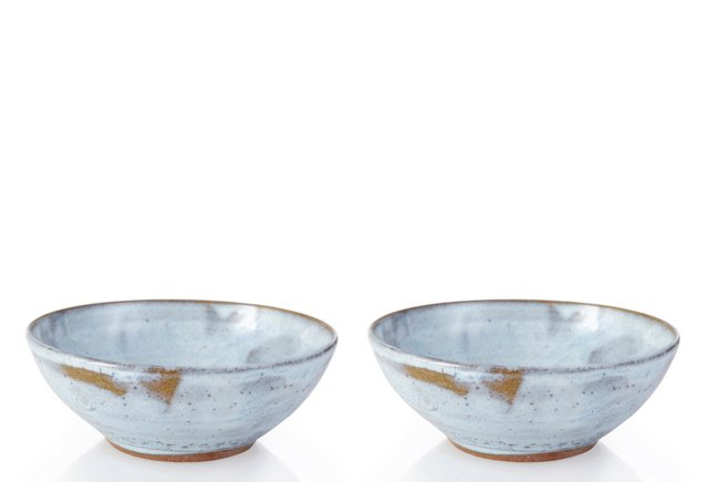 Stone White Cereal Bowls, Pair
