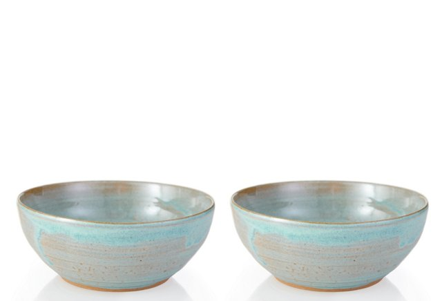 Aqua Cereal Bowls, Set of 2