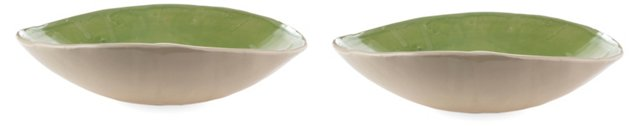 Green & White Pasta Bowls, Set of 2