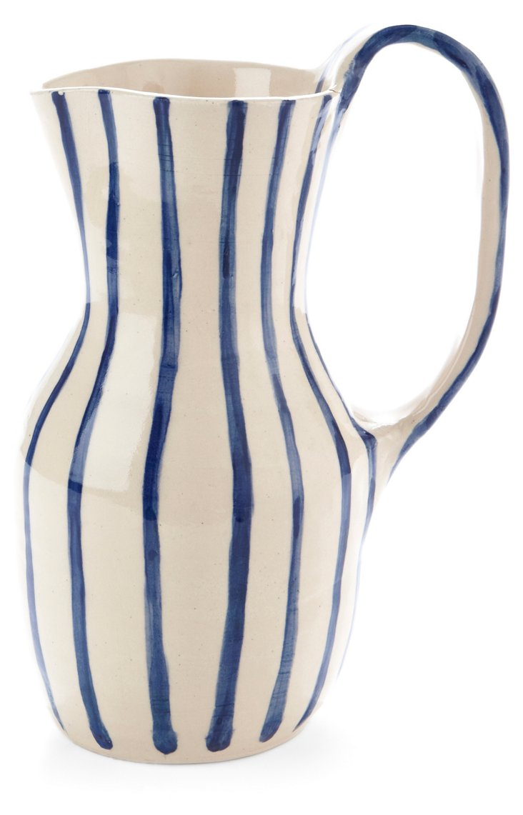 Large Blue Striped Pitcher