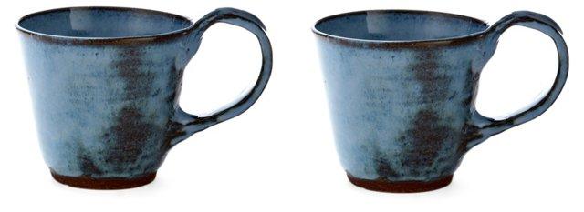 Blue Latte Cups, Set of 2