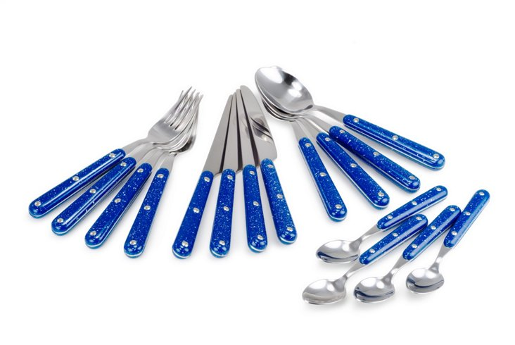 16-Piece Pioneer Cutlery Set, Blue