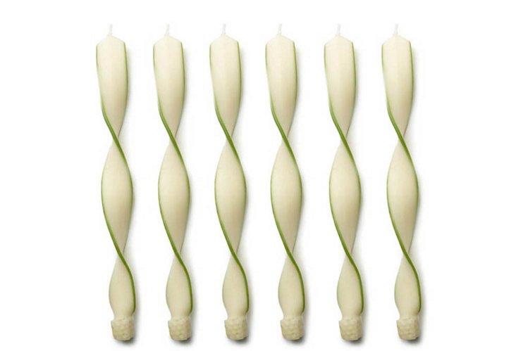 S/6 Swirl Tapers, Green/White