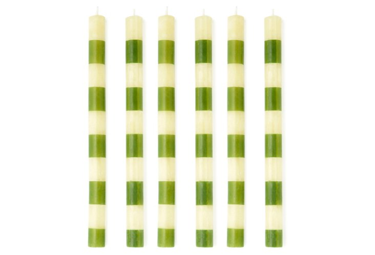 S/6 Banded Tapers, Green & White