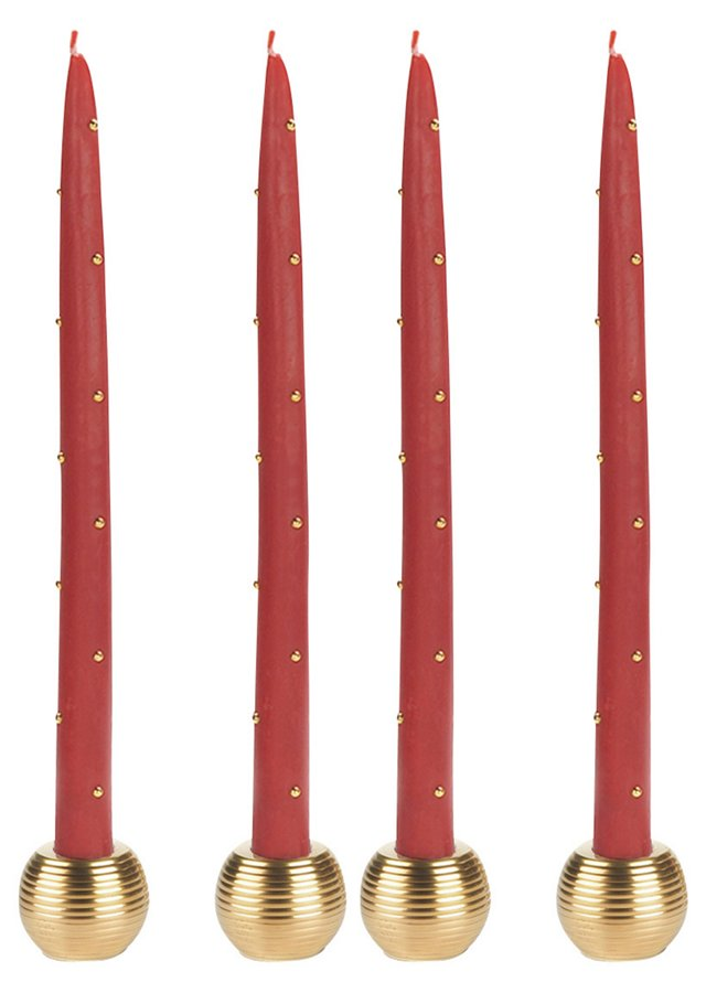 S/4 Red & Gold Tapers