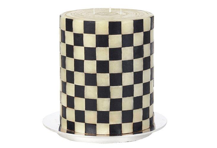 "S/2 8"" Checkerboard Pillars"