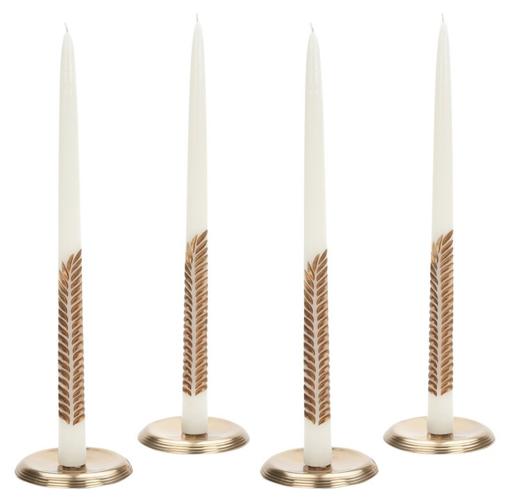 S/4 White & Gold Fern Tapers