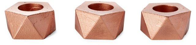 "S/3 2"" Geometric Air Planters, Copper"