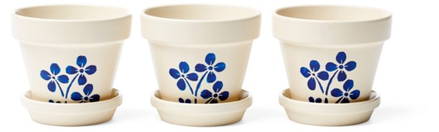 "S/3 3.5"" Floral Planters, Ivory"