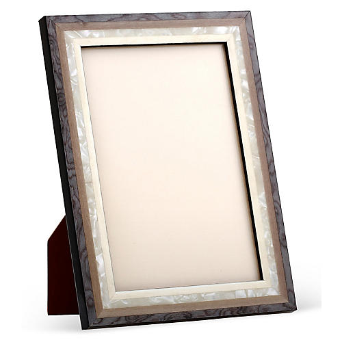 Mother-of-Pearl Frame, Gray/White