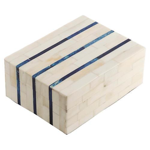 "6"" Double-Stripe Bone-Tile Box, Ivory"